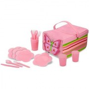 Melissa & Doug Sunny Patch Bella Butterfly Picnic Set With Basket Plates and Utensils