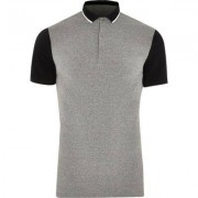 River Island Mens Grey contrast sleeve muscle fit polo shirt