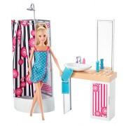 Barbie - Muñeca con mueble de baño (Mattel CFB61)