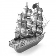 Creative 3D Nano Metallic Pirate Ship Assembly Educational Puzzle Toy for Kids / Children - Silver
