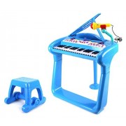 Classical Elegant Piano Kids Childrens Toy Keyboard Musical Instrument Playset W/ Stool, Microphone, 37 Key Piano, Records & Playbacks Music (Blue)