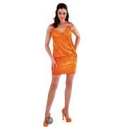 Oranje fluwelen jurkje 36 (s)