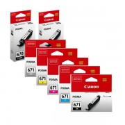 7 Pack Genuine Canon PGI-670, CLI-671 Ink Combo [2BK,1PBK,1C,1M,1Y,1GY]