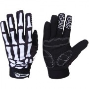 Bicycle Skeleton Pattern Full Finger Warm Bike Sports Gloves Black + White L