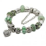 "Silver European Charm Bracelet 7.9"" Green Murano Glass Beads Bracelets Kit 25, By eArt"