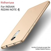 "RIdhaniyaa 4 cut All Sides Protection ""360 Degree"" Sleek Rubberised CHAMPAGNE GOLD Matte Hard Case Back Cover For (XIAOMI REDMI NOTE 4 [2017] / MI NOTE4)."