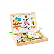 JoyeeeR Multi-Functional Magnetic Wooden Drawing Board Games with Tray - Early Educational Chalkboard Easel Toys Dry Erase Boards Super Animal Party Jigsaw Puzzle - Perfect Christmas Gift Idea