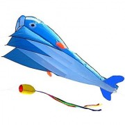 AGPtEK 3D Kite Huge Frameless Soft Parafoil Giant Blue Dolphin Breeze Beach Kites