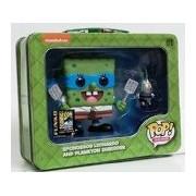 2014 SDCC Pop! Television: TMNT Spongebob Leonardo & Plankton Shredder Tin Tote with Figures