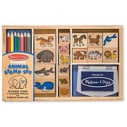 Melissa & Doug Wooden Stamp Set: Animals - 16 Stamps 4 Colored Pencils Stamp Pad