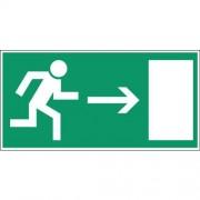 Noodevacuatiebord - ''''Nooduitgang rechts'''' - Zelfklevend