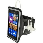 iGadgitz Reflective Anti-Slip Black Sports Jogging Gym Armband for Nokia Lumia 925 With Key Slot