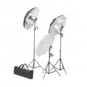 vidaXL Комплект от студийни лампи с рефлектор и стативи, 36 watts