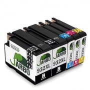 JARBO Replacement For HP 932XL 933XL Ink Cartridges High Yield 5 Packs(2 Black 1 Cyan 1 Magenta 1 Yellow) Compatible With HP Officejet 6700 6600 6100 7110 7610 7612 Printer