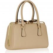 Kabelka LS00311 - Nude Grab Bag With Metal Frame