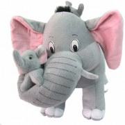 Tickles Grey Mother Elephant with Two Baby Stuffed Soft Plush Toy 32 cm