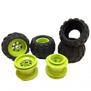 Lego Parts: Drome Racer Wheels Tire and Rim Bundle (4) Black 43.2mm x 28mm Balloon Tires (4) Lime 43.2mm x 28mm Wheel Rims