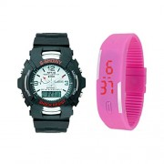 Vitrend S-Showy And Silicon Bracelet (Random color will be sent) COmbo Watches For Boys And Girls