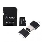 Andoer 4GB Classe 10 Memory Card TF Card + Adattatore + Lettore di Schede Flash USB per la Macchina Fotografica dell'automobile della Macchina Fotografica del Telefono delle Cellule Tabella PC GPS