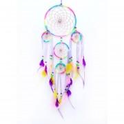 Louiwill 5 Círculos Dreamcatcher Para El Coche Y La Decoración Del Hogar, De La Pluma De La Perla De Los Ornamentos (arco Iris)