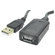 Cabo Extensor USB Macho-Femea 10 metros Blindado com Repetidor Ativo - Preto