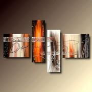 4 Quadri Arte Moderna Lava Dipinti a Mano su Tela