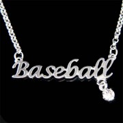 Swarovski Crystal Baseball Words SoftBall Ball Mom Necklace Jewelry