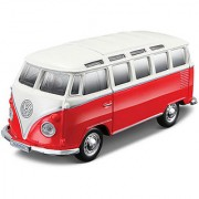 Maisto Maisto Power Kruzerz 45 Inch Pull Back Action - Volkswagen Van - Samba Diecast Model Car (Red White)