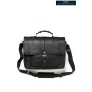 Mens Next Black Signature Leather Oily Briefcase - Black