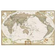 Wereldkaart Politiek & antiek, pacific centered, 185 x 122 cm | National Geographic