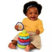 Bright Starts Rattle n' Stack Activity Toy, Colored Rings of Different Shapes and Textures