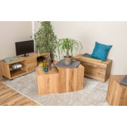 Easy M�bel 2 Piece Coffee table Set Wooden Nature 35, solid wild oak wood, organic, oiled -