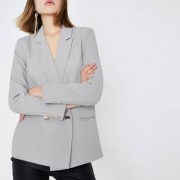 River Island Grijze double-breasted blazer