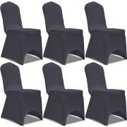 vidaXL Покривни калъфи за столове, еластични, 6 бр, антрацитно черно