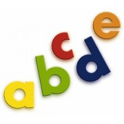 Quercetti Magnetic Lowercase Letters - 40 Piece Alphabet Magnet Set in Assorted Colors (Made in Italy)