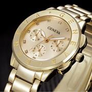 Mulheres Relógio de Moda / Relógio de Pulso Quartz Strass Aço Inoxidável Banda Legal Prata / Dourada marca