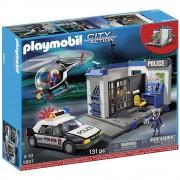 Playmobil City Action 5607 - Poste De Police Avec Voiture Et Helicoptere