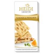 Heidi Grand'or Ciocolata Alba cu Migdale, Fistic si Portocala 100g