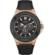 GUESS Black Synthetic Round Dial Quartz Watch For Men (W0674G6)