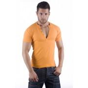 ES Collection V Neck Buttons Short Sleeved T Shirt Mango 415