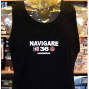 Navigare Canottiera mare uomo Navigare nero con stampa logo frontale