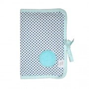 Câlin Câline Nino 100.37 - Funda con cierre de cordel para cartilla sanitaria, diseño de lunares con círculo bordado, color azul y blanco