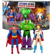 Mattel Year 2009 DC Comics Animated Movie Series Superman Batman Public Enemies 3 Pack 4 Inch Tall Action Figure Set - SUPERMAN LEX LUTHOR and POWER GIRL