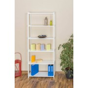 Steiner Shopping Furniture Tall 200cm Shelving Unit Junco 54A, solid pine, white finish - H200 x W80 x D30