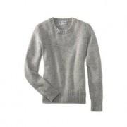 Johnstons 4-Ply Kaschmir-Tweed Damen-Pullover, 44 - Silbergrau
