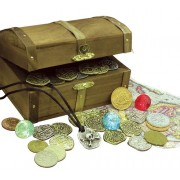American Coin Treasures Kids Treasure Chest with Replica Pirate Coins/Foreign Coins/Gems/Necklace Co