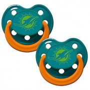 Baby Fanatic Pacifier - Glow In The Dark (2 Pack) - Miami Dolphins