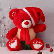 Red 15 Inch Christmas Teddy Bear with cap and muffler