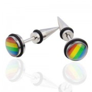 rosegal Pair of Vintage Colored Stainless Steel Cone Earrings For Men