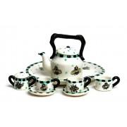 Unique Design Dollhouse Miniature Gloss Finish Porcelain Tea Set
